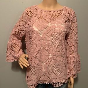 INC International Concepts Pink Lace Top NWT Sz LG
